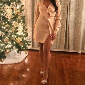 Long sleeve silk cream dress